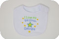 2 personalised baby bibs If you think i'm cute & I love my big brother sister